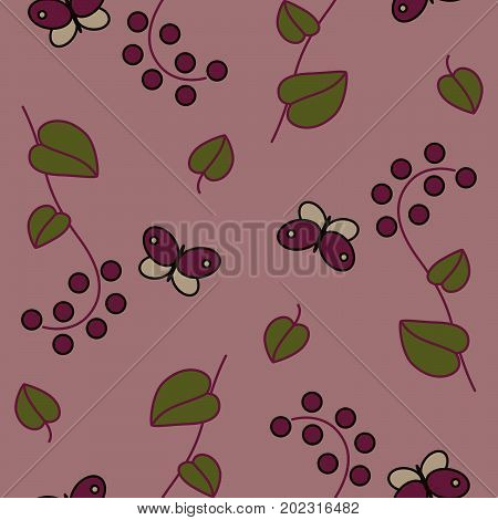 Stylized seamless pattern of the summer nature with green leaves butterflies and wild berries