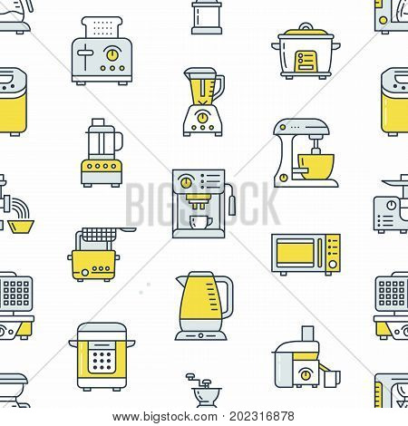 Kitchen small appliances equipment seamless pattern with flat line icons. Household cooking tools - blender, mixer, food processor, coffee machine, microwave, toaster. Linear signs electronics store.