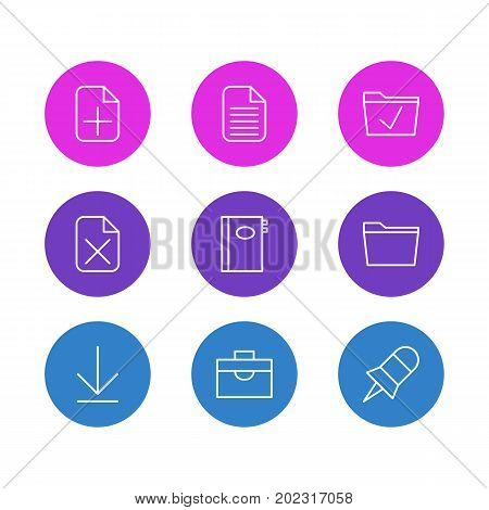Editable Pack Of Approve, Blank, Book And Other Elements.  Vector Illustration Of 9 Bureau Icons.