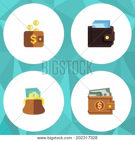 Flat Icon Purse Set Of Pouch, Billfold, Payment And Other Vector Objects