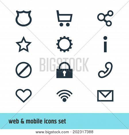 Editable Pack Of Info , Letter , Handset Elements.  Vector Illustration Of 12 User Icons.
