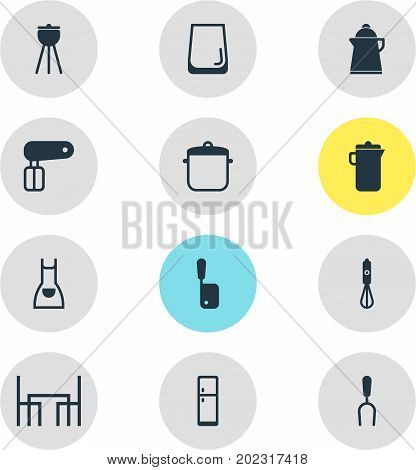 Editable Pack Of Glass Cup, Refrigerator, Dinner Table And Other Elements.  Vector Illustration Of 12 Kitchenware Icons.