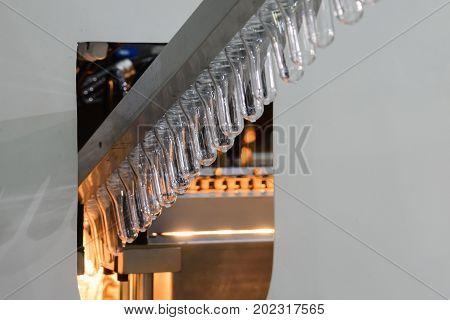 The pre-heat process of plastic bottle blowing process.Hi-technology production process.