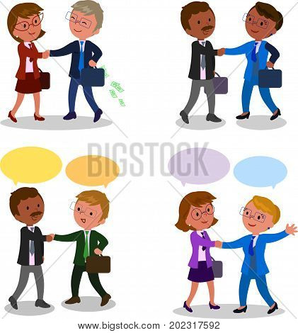 Pairs of managers shaking hands with speech balloons, vector illustration