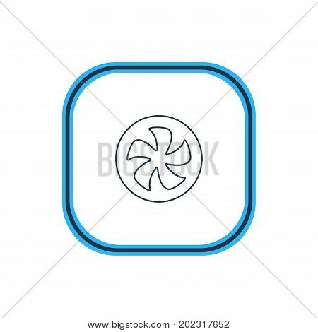 Beautiful Computer Element Also Can Be Used As Cooler Element.  Vector Illustration Of Fan Outline.