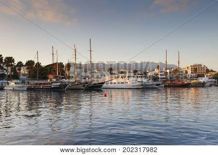 KOS, GREECE - DECEMBER 10, 2016: Yachts in the harbour of Kos town, Greece on December 10, 2016.