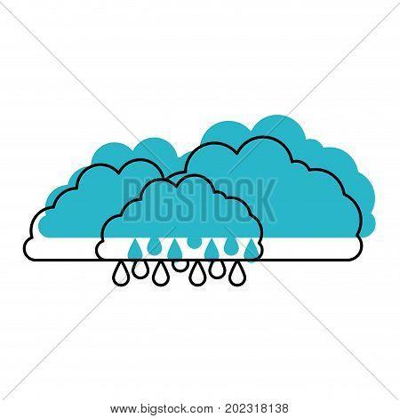 clouds with drizzle in blue watercolor silhouette on white background vector illustration