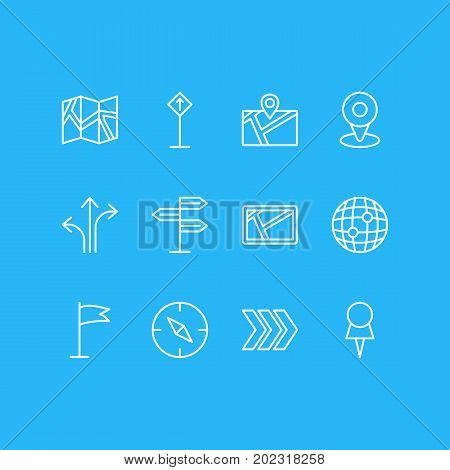 Editable Pack Of Location, World, Pennant And Other Elements.  Vector Illustration Of 12 Direction Icons.