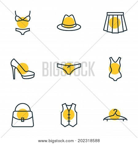 Editable Pack Of Fedora, Waistcoat, Sandal Elements.  Vector Illustration Of 9 Clothes Icons.