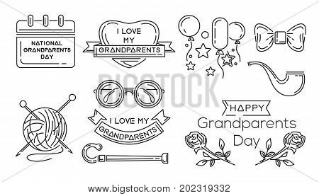 Line icon set for National Grandparents Day. I love my Grandparents. Vector illustration poster