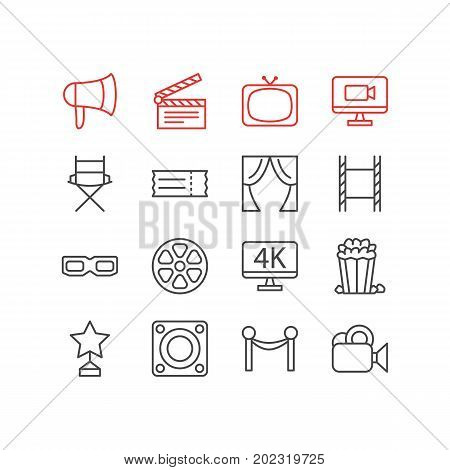 Editable Pack Of Filmstrip, Tv, Resolution And Other Elements.  Vector Illustration Of 16 Movie Icons.