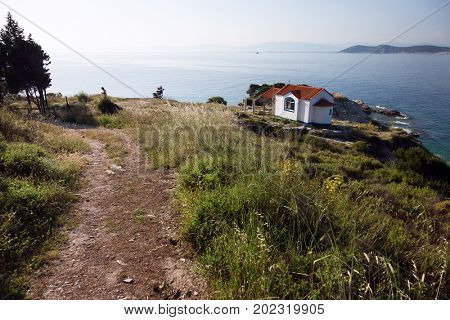 View of Orthodox church on the Thassos island, Greece
