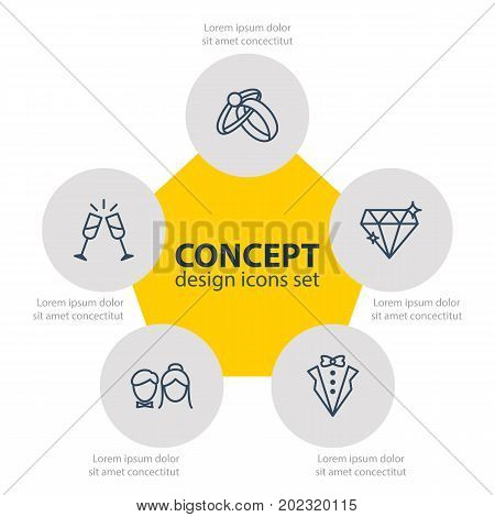 Editable Pack Of Brilliant, Engagement, Couple And Other Elements.  Vector Illustration Of 5 Marriage Icons.