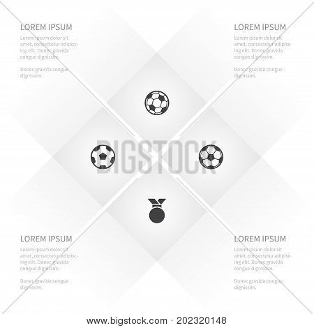 Icon Lifestyle Set Of Offside, Soccer, Medallion And Other Vector Objects