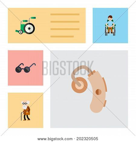 Flat Icon Cripple Set Of Equipment, Audiology, Spectacles And Other Vector Objects