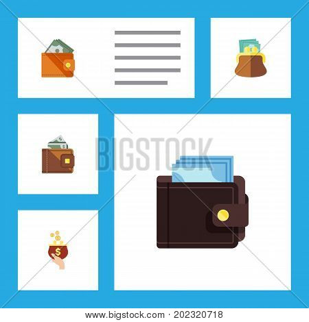 Flat Icon Wallet Set Of Currency, Wallet, Pouch And Other Vector Objects