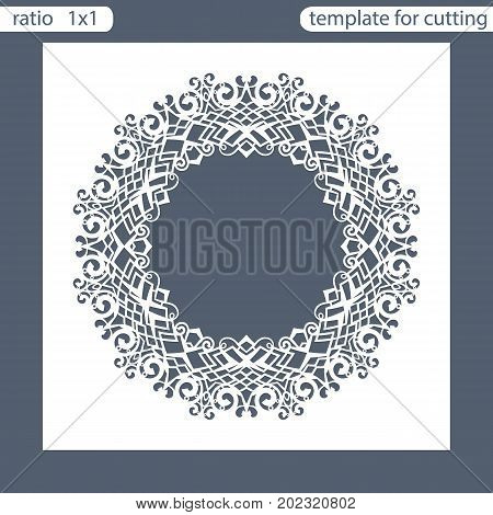 Laser cut wedding invitation card template. Cut out the paper card with lace pattern. Greeting card. Photo frame are laser cut from a plate. Vector.