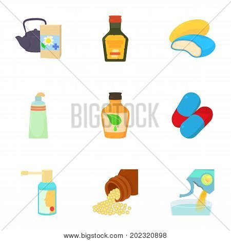 Pills and drug icons set. Cartoon set of 9 pills and drug vector icons for web isolated on white background