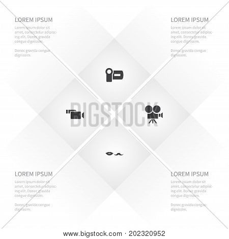 Icon Cinema Set Of Moustache, Cinema, Production And Other Vector Objects