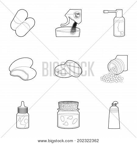 Medicament icons set. Outline set of 9 medicament vector icons for web isolated on white background