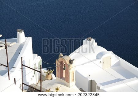 Blue and white island Santorini, Cyclades, Greece