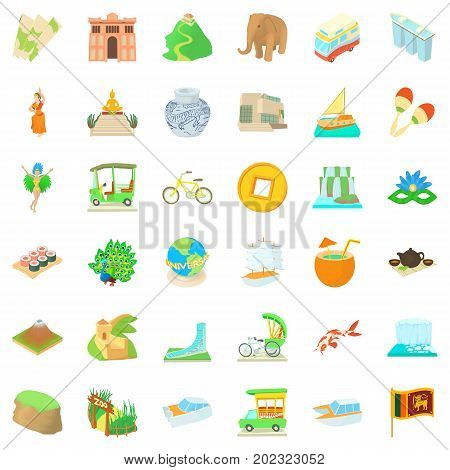 Tourist attraction icons set. Cartoon style of 36 tourist attraction vector icons for web isolated on white background