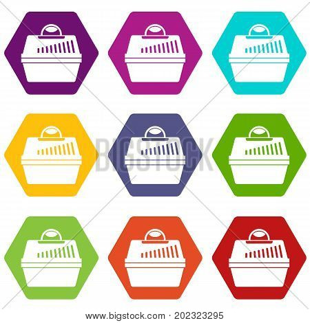 Portable cage for pets icon set many color hexahedron isolated on white vector illustration