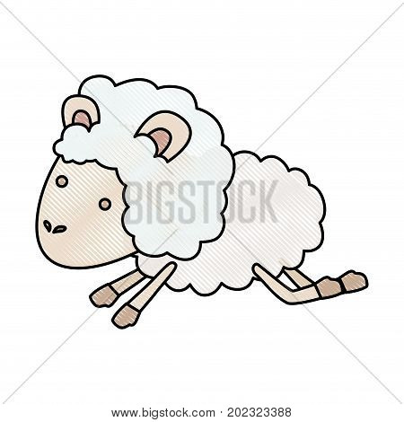 sheep animal jumping in color crayon silhouette on white background vector illustration
