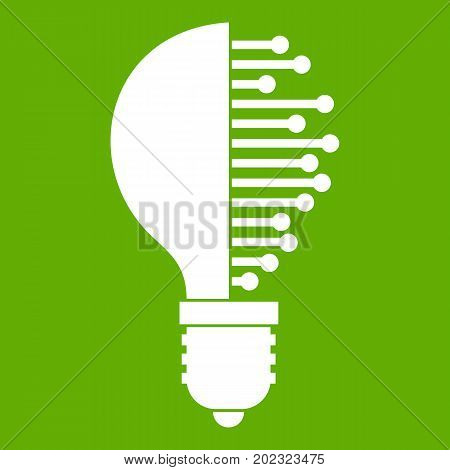Lightbulb with microcircuit icon white isolated on green background. Vector illustration