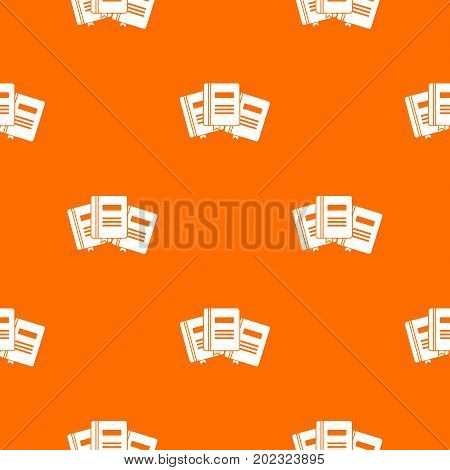 Three books with bookmarks pattern repeat seamless in orange color for any design. Vector geometric illustration