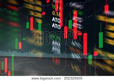 Candle Stick Graph And Volume Indicator With Blurred Stock Market Chart Show Ato Order Or Buy Or Sel