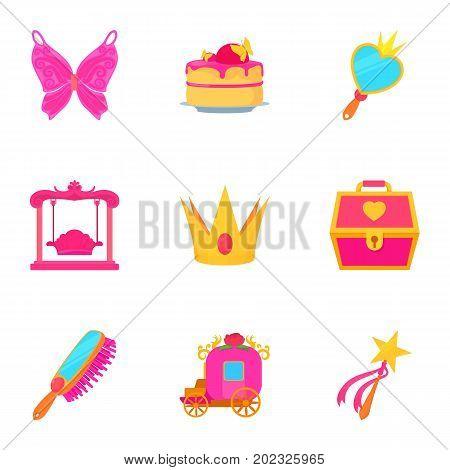 Little fairy equipment icons set. Cartoon set of 9 little fairy equipment vector icons for web isolated on white background