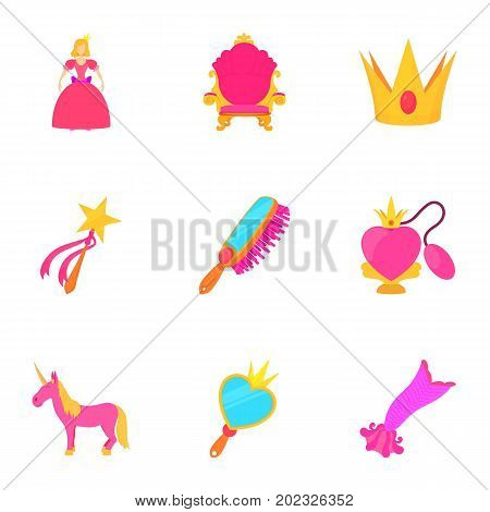 Toys for girl icons set. Cartoon set of 9 toys for girl vector icons for web isolated on white background