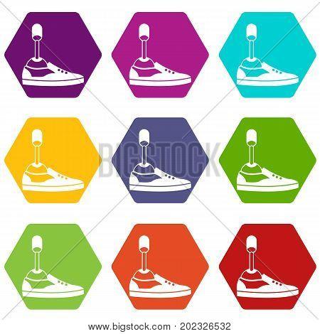 Prosthetic leg icon set many color hexahedron isolated on white vector illustration