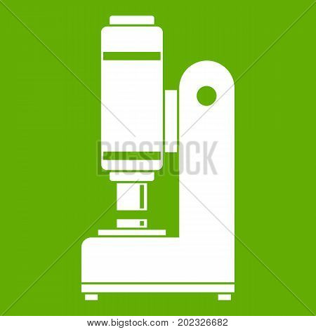 Blacksmith automatic hammer icon white isolated on green background. Vector illustration