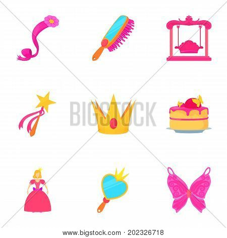 Little queen icons set. Cartoon set of 9 little queen vector icons for web isolated on white background