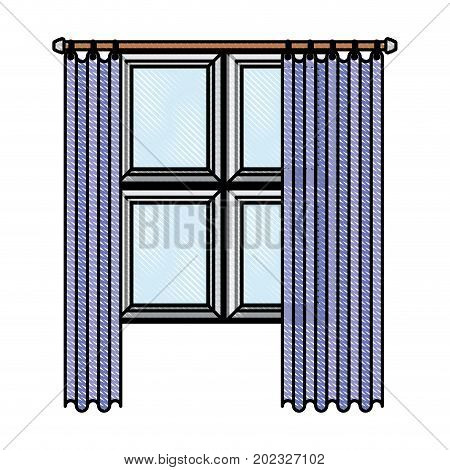 window in wooden with lilac curtain in color crayon silhouette on white background vector illustration