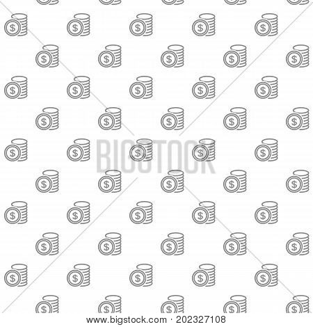 Unique digital money and coins seamless pattern with various icons and symbols on white background flat vector illustration