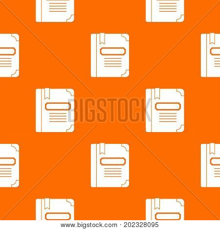 Tutorial with bookmark pattern repeat seamless in orange color for any design. Vector geometric illustration