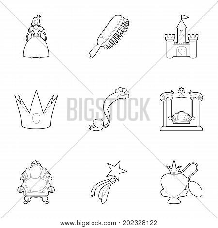 Toys for girl icons set. Outline set of 9 toys for girl vector icons for web isolated on white background
