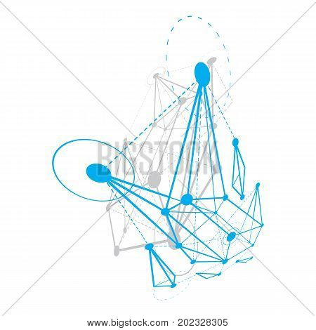 Abstract geometric 3D faceted object modern digital technology and science theme vector background. New technology illustration.