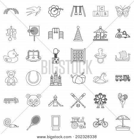 Amusing icons set. Outline style of 36 amusing vector icons for web isolated on white background