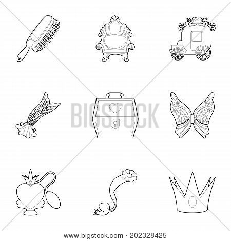 Little queen icons set. Outline set of 9 little queen vector icons for web isolated on white background