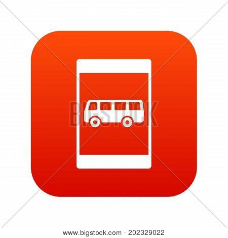 Bus stop sign icon digital red for any design isolated on white vector illustration
