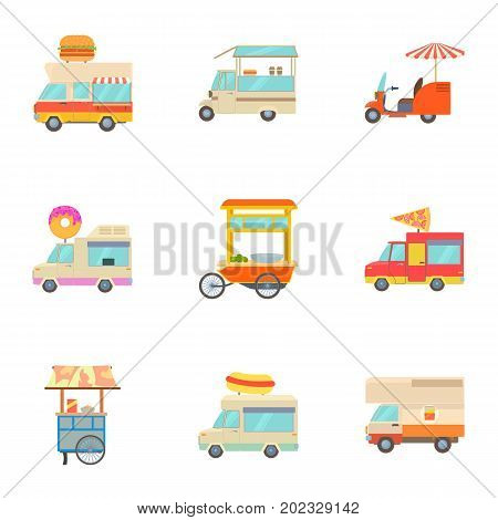 Different food truck icons set. Cartoon set of 9 different food truck vector icons for web isolated on white background