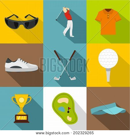 Golf equipment icon set. Flat style set of 9 golf equipment vector icons for web design