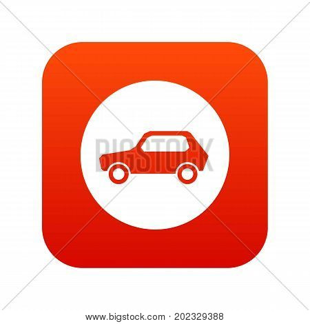 Only motor vehicles allowed road sign icon digital red for any design isolated on white vector illustration