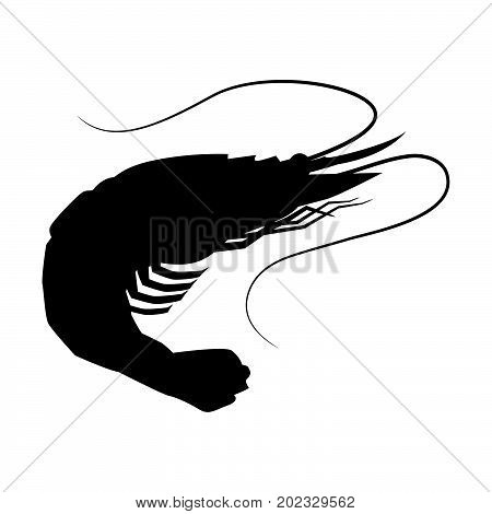 Shrimp icon Shrimp silhouette seafood shop label isolated vector sign symbol.