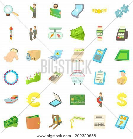 Loading icons set. Cartoon style of 36 loading vector icons for web isolated on white background