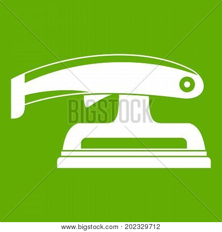 Fret saw icon white isolated on green background. Vector illustration